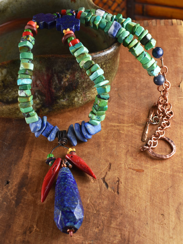 Tribal beaded pendant necklace in colorful stones by Gloria Ewing.