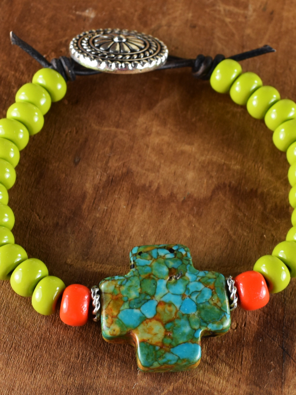 Colorful beaded leather bracelet by Gloria Ewing.