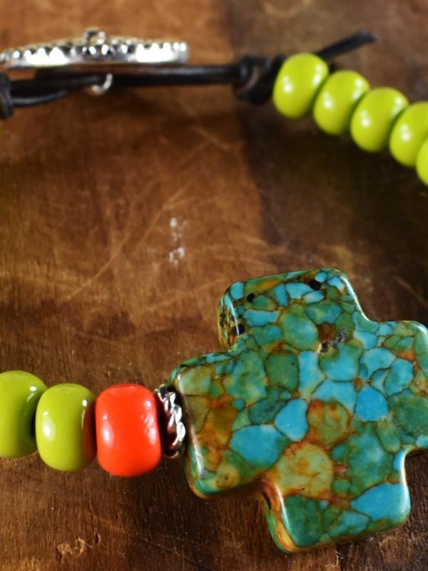 Western style turquoise beaded bracelet by Gloria Ewing.