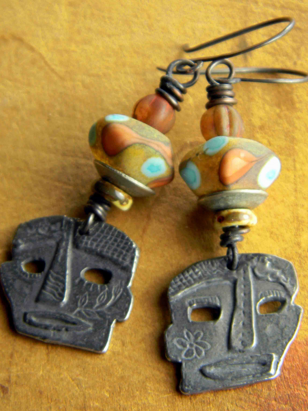 Colorful tribal beaded earrings by Gloria Ewing.