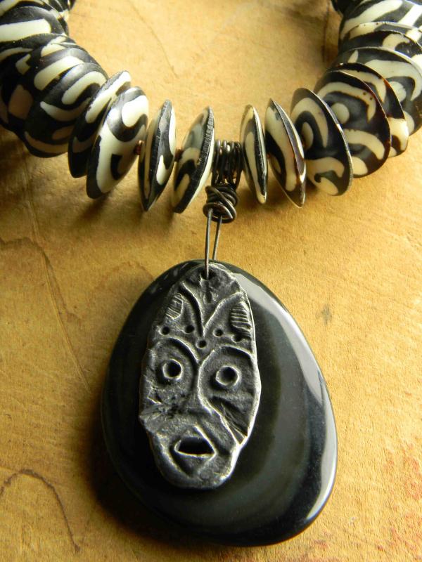 Dramatic Batik beaded necklace by Gloria Ewing.