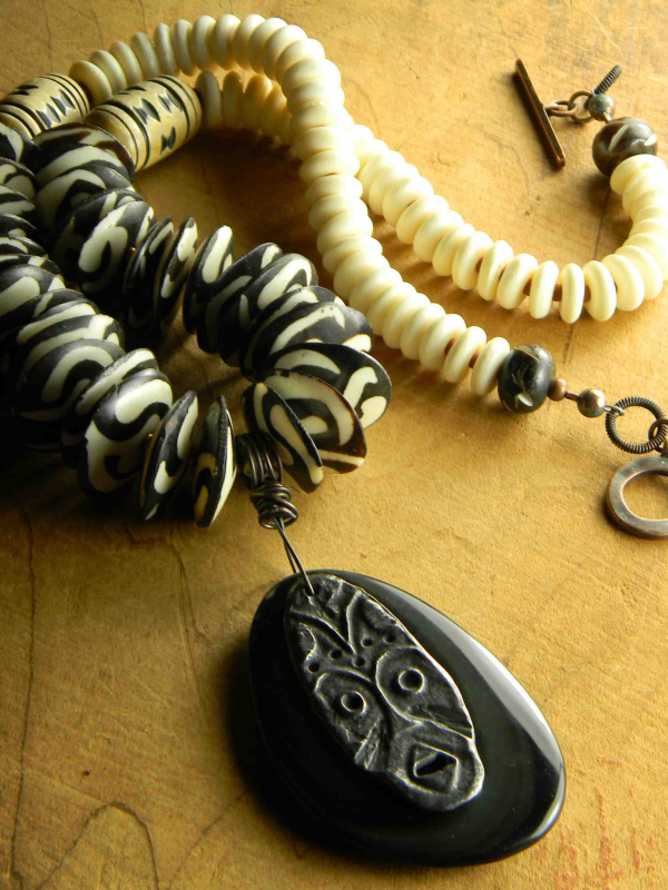 Batik black and white African style necklace by Gloria Ewing.