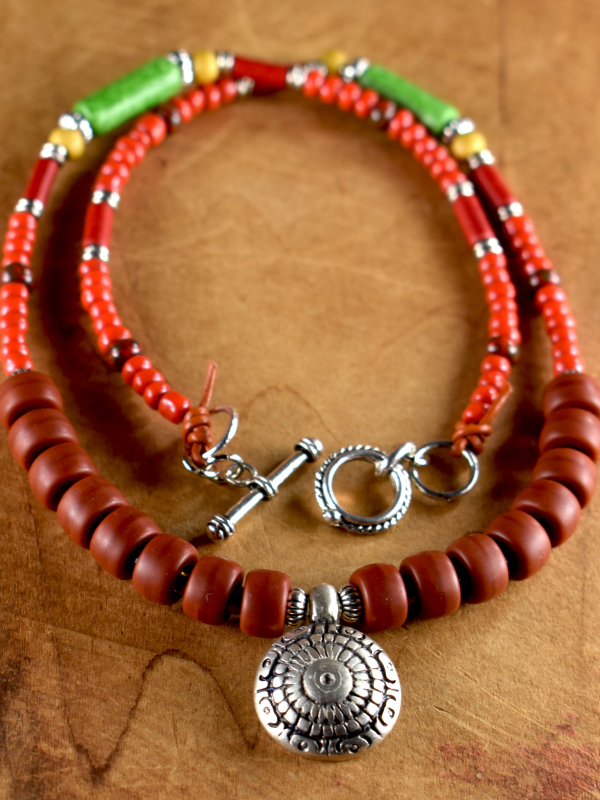 Brightly colored Greek beads in a simple necklace design by Gloria Ewing.
