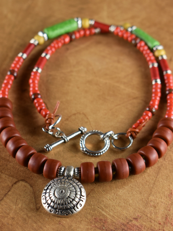 Boho hippie beaded necklace with medallion by Gloria Ewing.