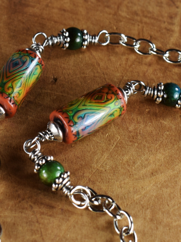 Boho pewter and mood bead necklace by Gloria Ewing.