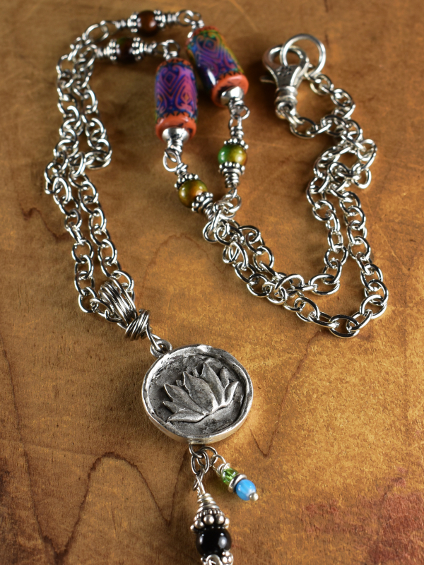Pewter pendant necklace with mood beads by Gloria Ewing.