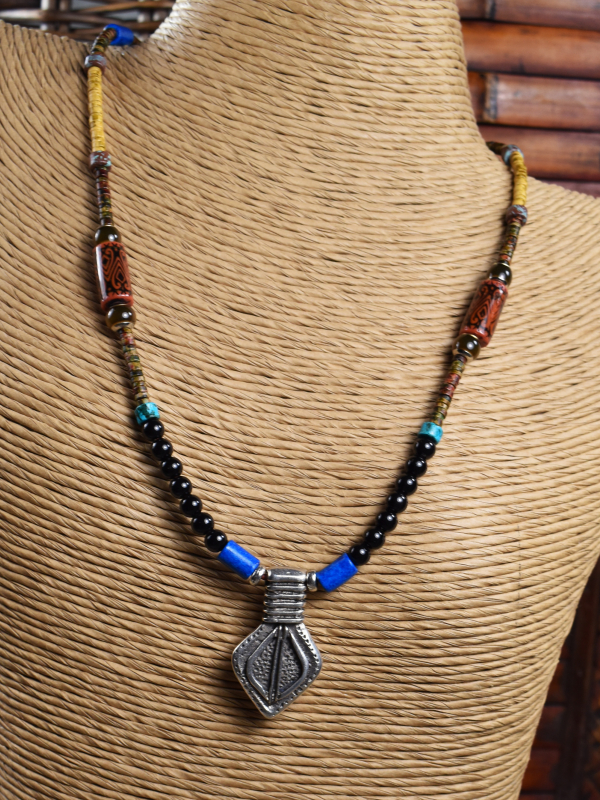 Tribal mood bead necklace with pewter pendant by Gloria Ewing.