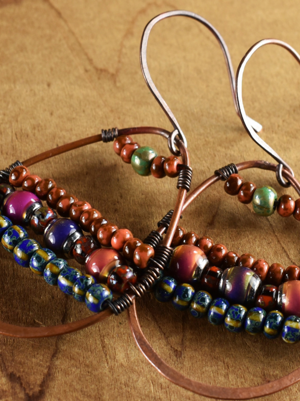 Mood beads in a unique hoop earring design by Gloria Ewing.