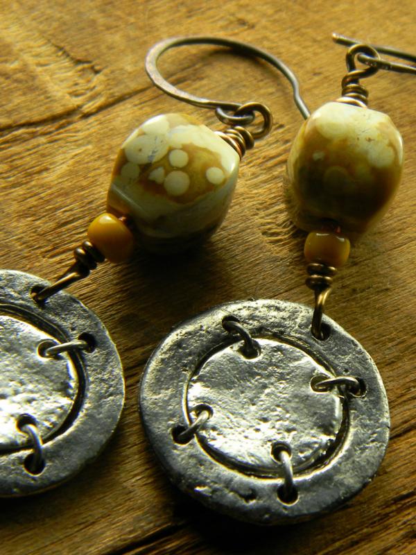 Rustic Pewter and Ocean Jasper Earrings | Chrysalis Tribal ...