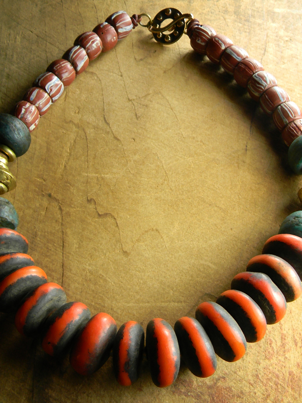 African brass and trade bead necklace design by Gloria Ewing.