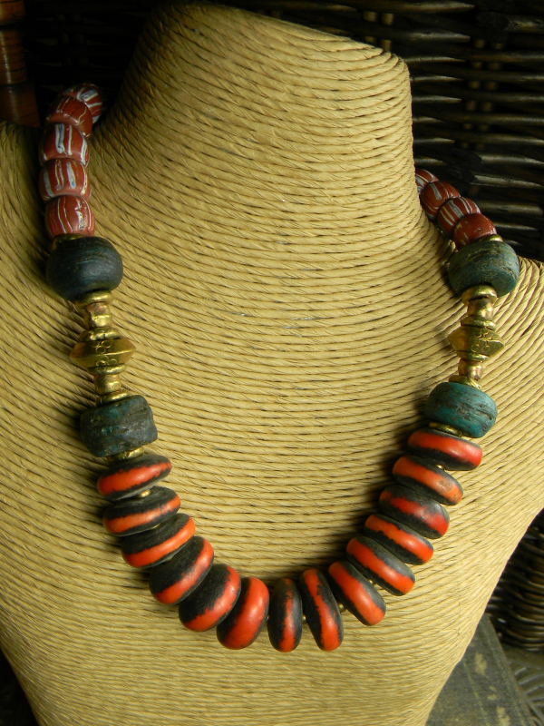Trade bead necklace with Moroccan copal by Gloria Ewing.