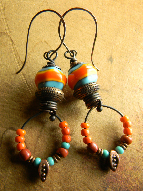 Tejana Collection Orange and Turquoise earrings by Gloria Ewing.