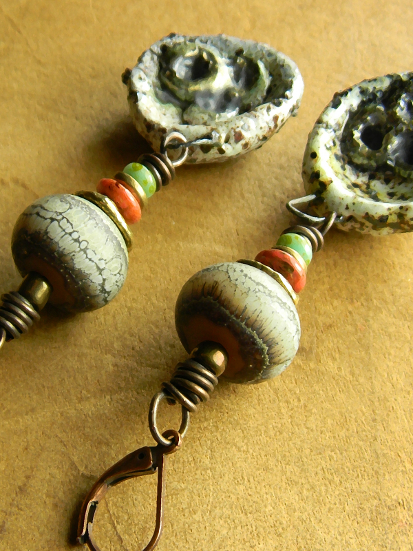 Unusual beaded drop earrings by Gloria Ewing
