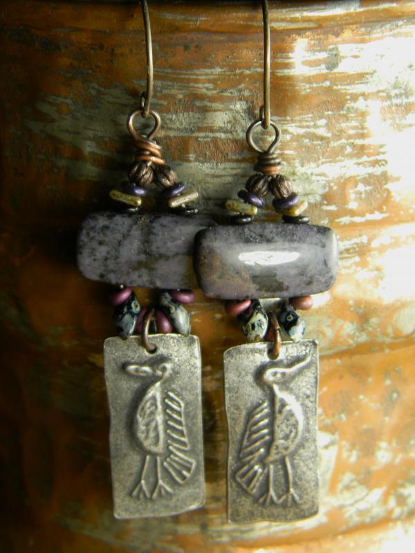 Boho tribal beaded earrings by Gloria Ewing.
