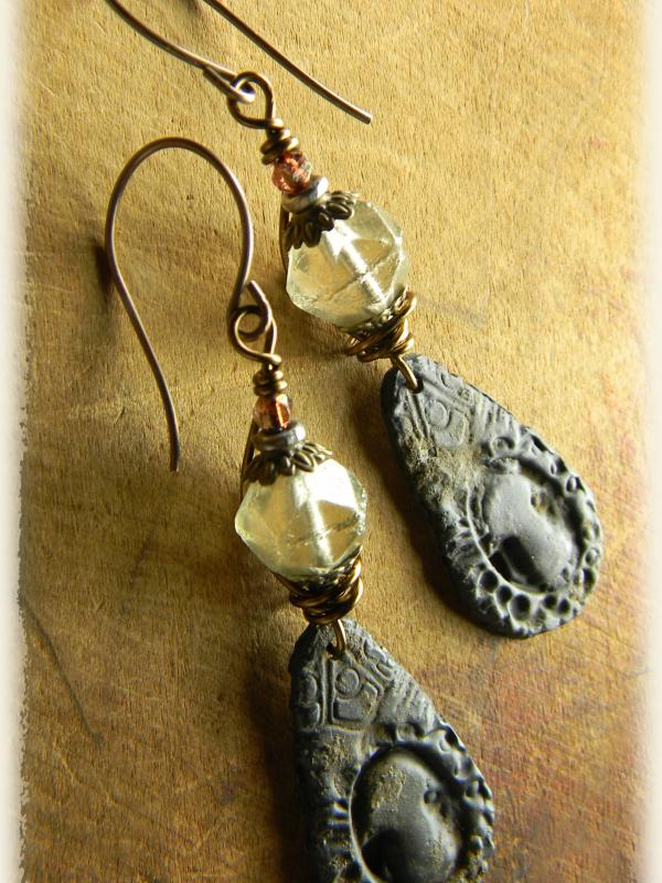 Vintage Looking Keyhole Charm Earrings