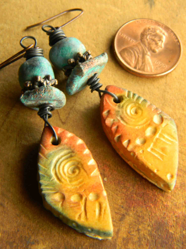 My own polymer clay earrings by Gloria Ewing.