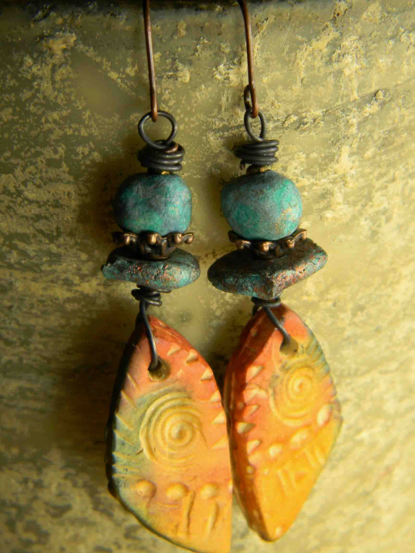 New Mexico style earrings designed by Gloria Ewing.