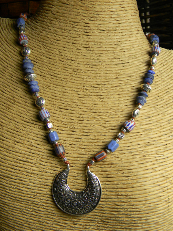 Pewter and trade bead choker necklace by Gloria Ewing.