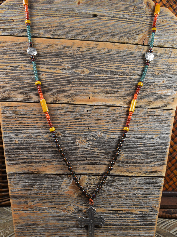 Colors of the southwest in a long beaded necklace by Gloria Ewing.