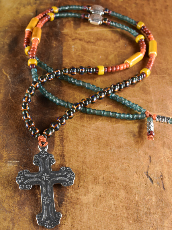 Long and colorful beaded design with colors of the southwest by Gloria Ewing.