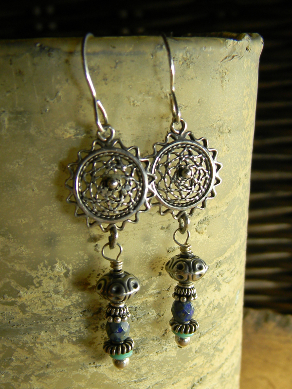 Blue and green with silver earrings by Gloria Ewing.