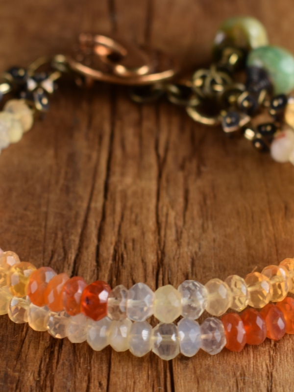 Boho style opal beaded bracelet with artisan bronze by Gloria Ewing.