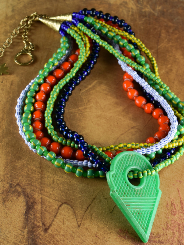 Tribal multi-strand necklace with Talhakimt by Gloria Ewing.