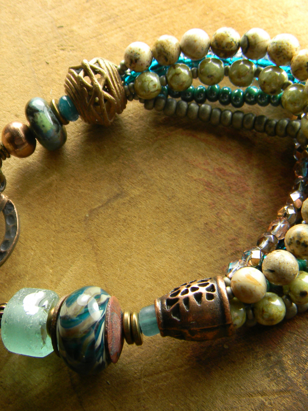 569a56c29a855 Rustic Lampwork Glass Bracelet Teal Blue Green Recycled Glass Beaded  Handmade Jewelry