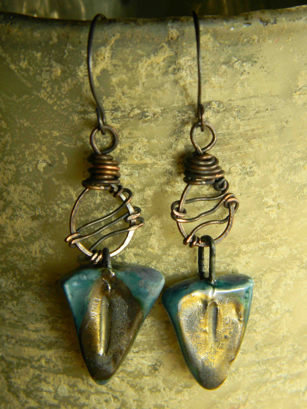 Flirty copper and ceramic wire wrapped earrings by Gloria Ewing.