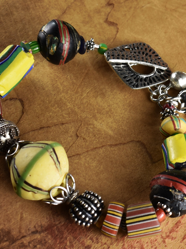Bold colors with Sterling silver in a tribal bracelet by Gloria Ewing.