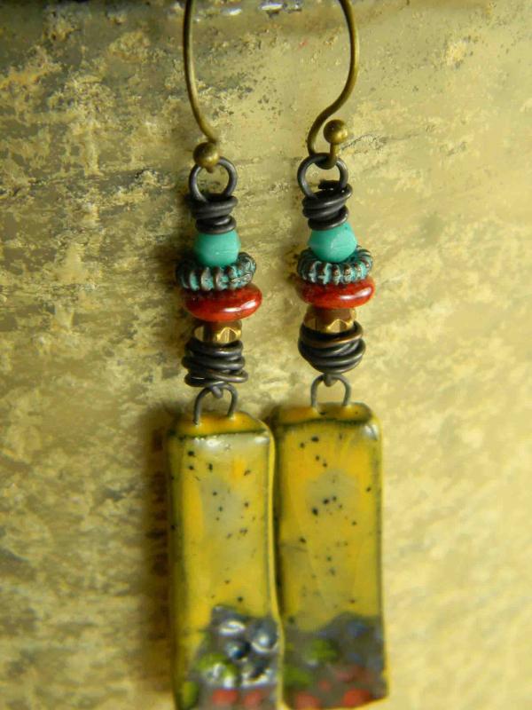 Boho tribal beaded drop earrings by Gloria Ewing.