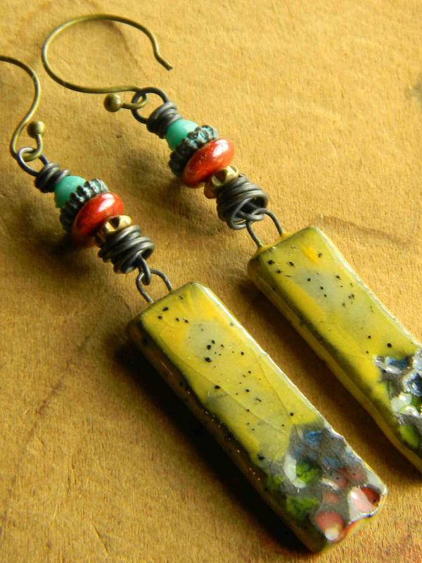 Yellow handmade ceramic drop earrings by Gloria Ewing.