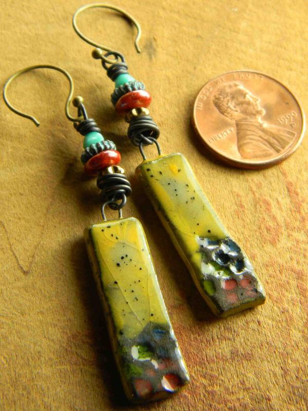 Long but lightweight artisan earrings by Gloria Ewing.