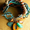 Colorful boho beaded statement bracelet by Gloria Ewing.