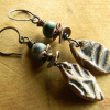 Boho earrings with African turquoise by Gloria Ewing.