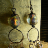 Handmade copper beaded earrings by Gloria Ewing.
