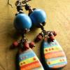 Bright colorful handmade beaded drop earrings by Gloria Ewing.