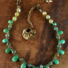Chrysoprase with artisan bronze, necklace design by Gloria Ewing.