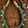 Feminine chrysoprase gemstone briolettes in a design by Gloria Ewing.