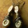 Rustic wire wrapped flower earrings by Gloria Ewing.
