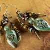 Primitive pagan goddess beaded earrings by Gloria Ewing.