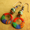 Wildly colorful beaded earrings by Gloria Ewing.
