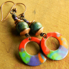Carnival colors in a beaded earring design by Gloria Ewing.