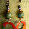 Bright cheerful statement earrings by Gloria Ewing.