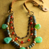 Southwestern agate and carnelian with leather by Gloria Ewing.