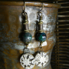Artisan drops with natural chrysocolla by Gloria Ewing.