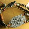 Primitive style beaded bracelet by Gloria Ewing.