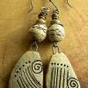 Handmade earthenware beaded earrings by Gloria Ewing.