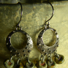 Picasso Czech drop earrings with knobby hoops by Gloria Ewing.
