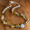 Sterling silver with lemon quartz in a boho tribal choker by Gloria Ewing